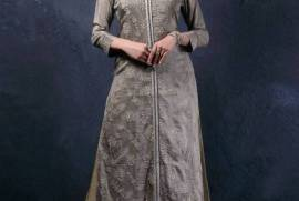 Grey Cotton Silk Round Neck Kurti
