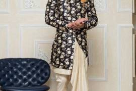Black Printed Pattern Silk Indo Western For Party