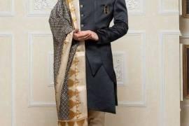 Black Hue Raw Silk Party Wear Designer Indo Wester