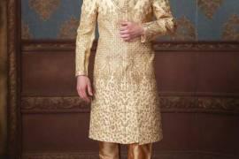 Cream Hued Terry Rayon Fabric Sherwani