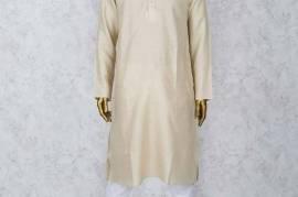 Beige Hue Solid Cotton Fabric Kurta Suit