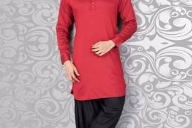 Classy Plain Red Black Cotton Pathnai Suit