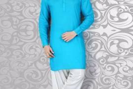 Solid Aqua Cotton Pathani Suit