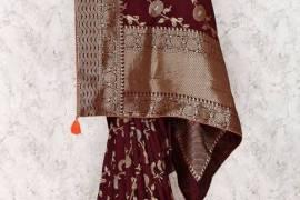 Coffee Brown Saree In Silk Fabric