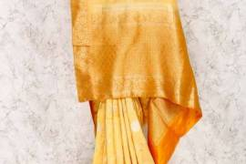 Light Yellow Color Saree In Silk